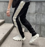 Yeezy Season 5 Black/White Stripe Leather Pants (As Seen On Kanye In That Yzy 450 Outfit)