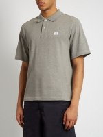 Acne Studios Polos - Acne Studios Falco Cotton-Pique Polo Shirt Concrete-Grey - Mens Acne Studios MCJST 579_3_LRG