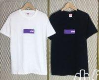 14SS purple box logo sticker TEE