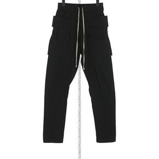 Rick Owen Drkshdw Black Twill Creatch Cargo Pants