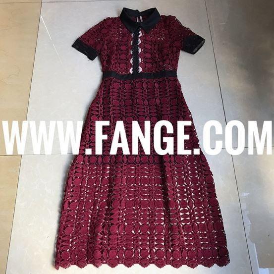 Self Portrait Short-sleeve Guipure-lace Midi Dress