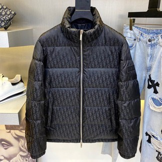 Blue Dior Oblique Printed Down Puffer Jacket