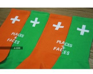 Places + Faces Green & Orange Socks
