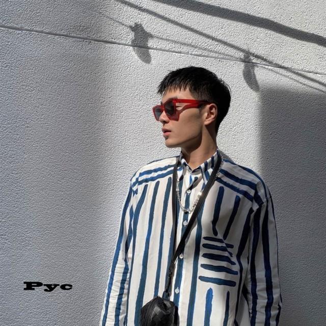 20SS new oil brush blue striped long-sleeved Jacquemus Shirt