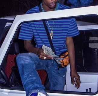 Guess x ASAP Rocky Purple & Green Striped T-Shirt