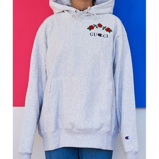 Gucci x Champion Rose Embroidery Hoodie by Ava Nirui