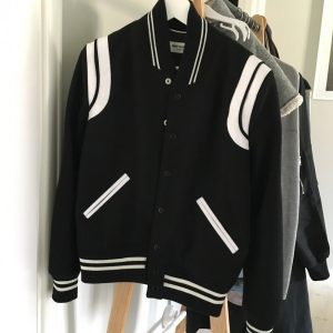 Saint Laurent Teddy Baseball Jacket (David's Clock version)