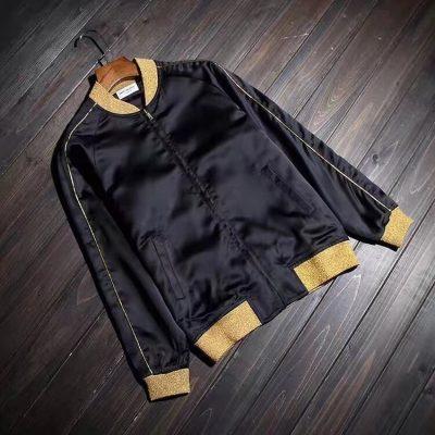 Saint Laurent SS15 Black/Gold satin piped bomber jacket